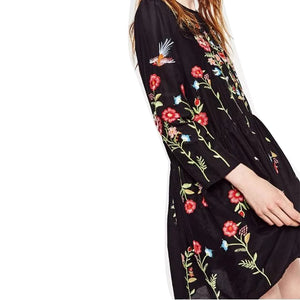 l Embroidery Dress O-neck Long Sleeve