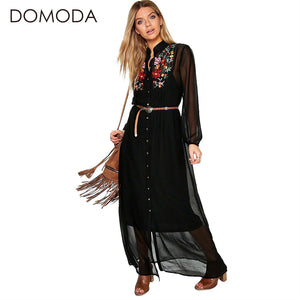 Bohemian Dress Women Clothing Floral Print Embroidery