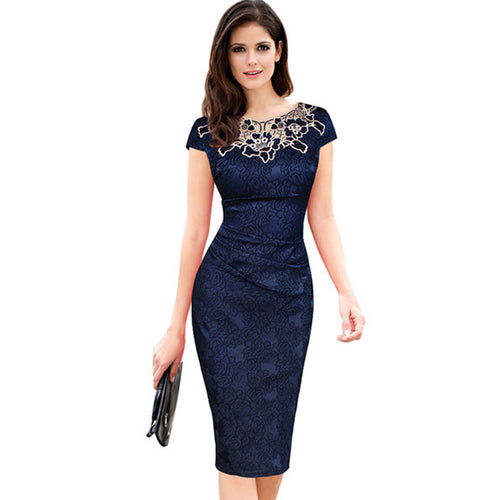 Fantaist Women Summer Embroidery O Neck Ruched Lace Dress Elegant Wedding Party Casual Office