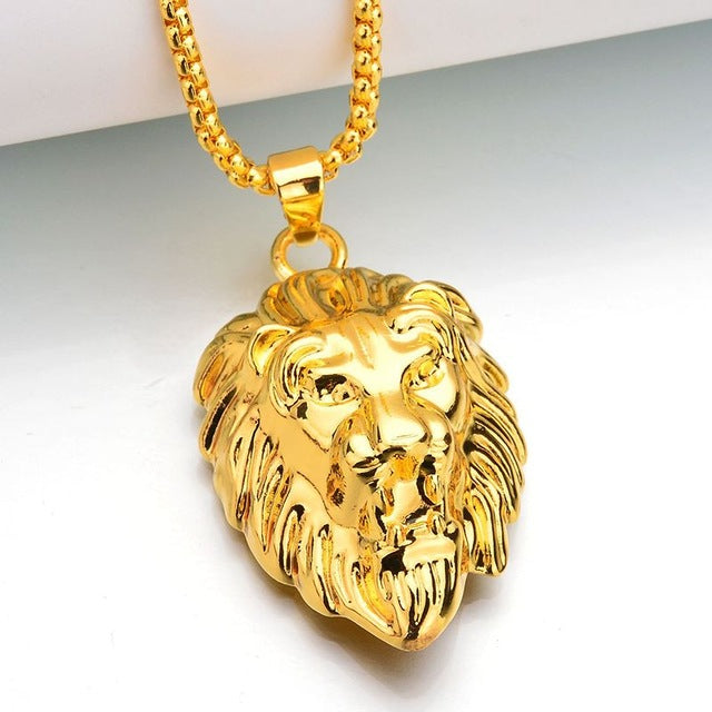 Frigaro Chain Hiphop Lion Head Pendant Necklace For Men Women Jewelry Iced Out Hip Hop Silver Gold Long Necklaces