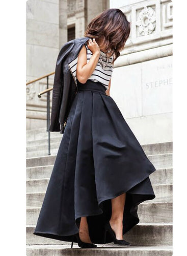 Black Solid Pleated Asymmetrical Long Skirts Womens 2017 Plus Size Autumn Vintage High Waist Ball Gown Mermaid Party Maxi Skirt