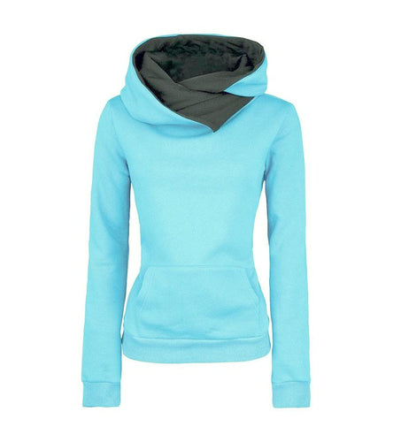 Autumn Winter Women Casual Solid Hoodies Unisex Lapel Hooded New Sweatshirts Pullovers Turn-down Collar