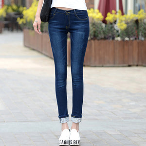Worn Jeans Female Casual Trousers Pencil Pants Jeans