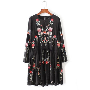 Autumn Fashion Brand Floral Embroidered Dress Women Round Neck Long