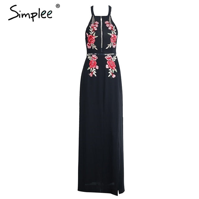 Simple Embroidery  Evening Long Dress Party Elegant Black