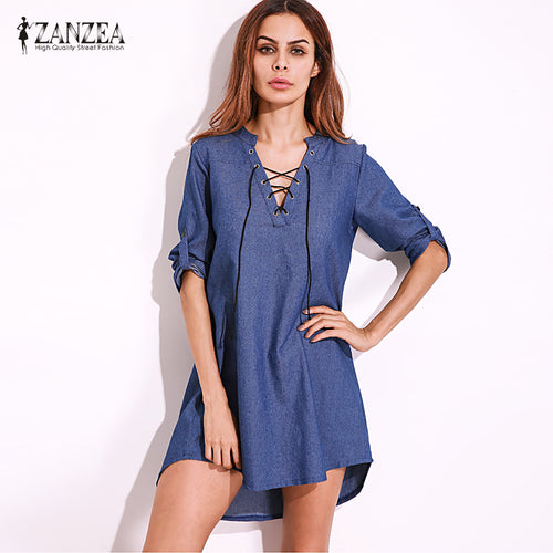 Women Deep V Lace Up Denim Blue Asymmetrical Shirt Dress Short Mini Dress Party Dress Vestidos Plus Tops