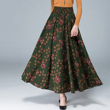 New Fashion Top Sale Long Flowing Thick Cotton Multicolor Print Skirts Bohemia Style Ethnic Print Linen Skirt