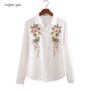 Floral Embroidered Blouse Shirt Women Slim White Tops Long Sleeve Blouses Woman