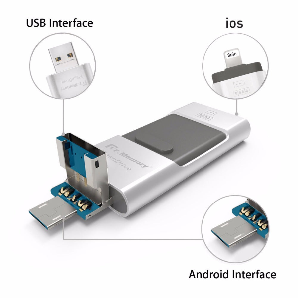 For Apple iPhone 5S SE 6 6S Plus 7 Plus OTG USB Flash Drive 3 In 1 Pen Drive  Metal Pendrive 16G 32G 64G 128GB