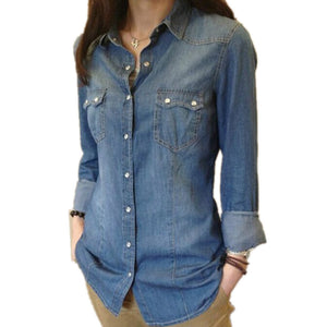 Womens Chambray Shirt Top denim Shirts and Blouses Long Sleeve Snap Button Cotton Ladies Shirt Camisa Blusa Camisetas Femininas (Delivery 10 Working Days)