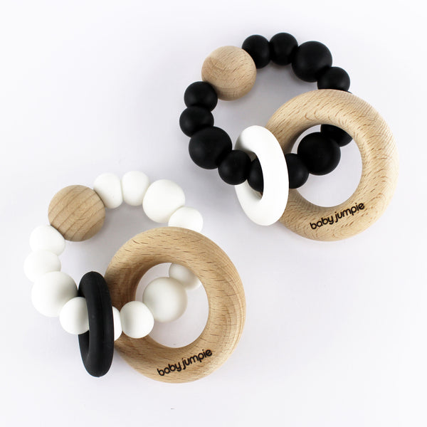 Baby Jumpie x Tiny Bae: The Zee Teething Rattle BLACK