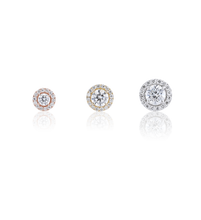 Halo Round Diamond Stud Earrings in 18K Yellow Gold 1.22 CT