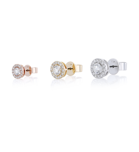 Halo Round Diamond Stud Earrings in 18K Pink Gold 1.19 CT