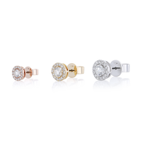 Halo Round Diamond Stud Earrings in 18K Pink Gold 1.08 CT