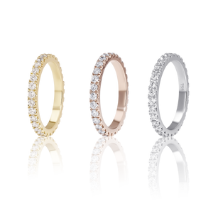 Pavé Diamond Eternity Wedding Ring in 18 K Pink Gold
