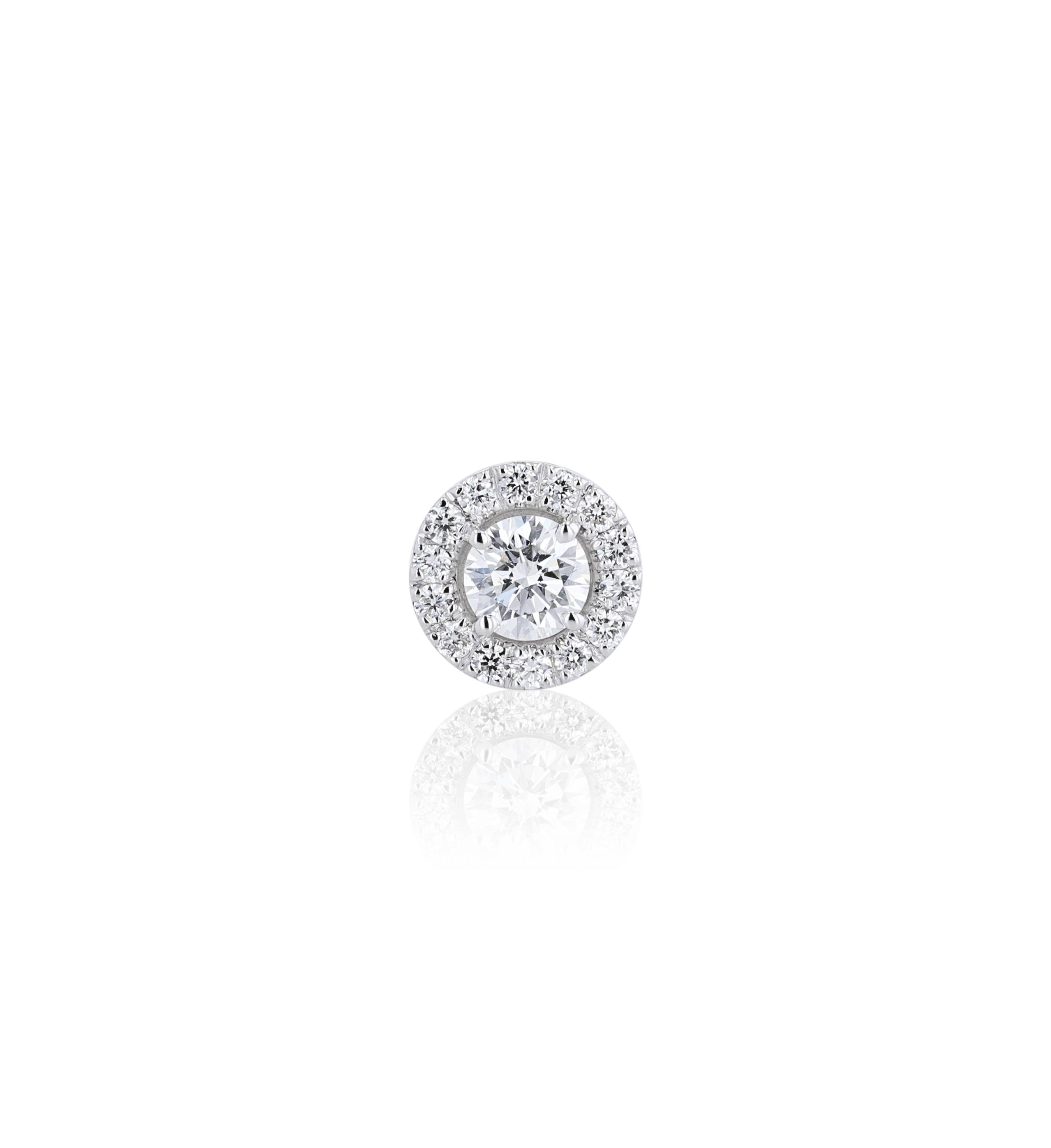 Halo Round Diamond Stud Earrings in 18K White Gold 0.63 CT