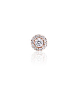 Halo Round Diamond Stud Earrings in 18K Pink Gold   0.64 CT