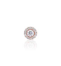 Halo Round Diamond Stud Earrings in 18K Pink Gold 0.86 CT