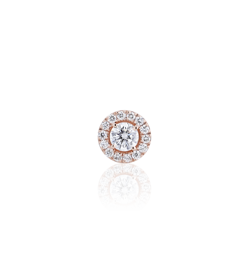 Halo Round Diamond Stud Earrings in 18K Pink Gold 0.68 CT