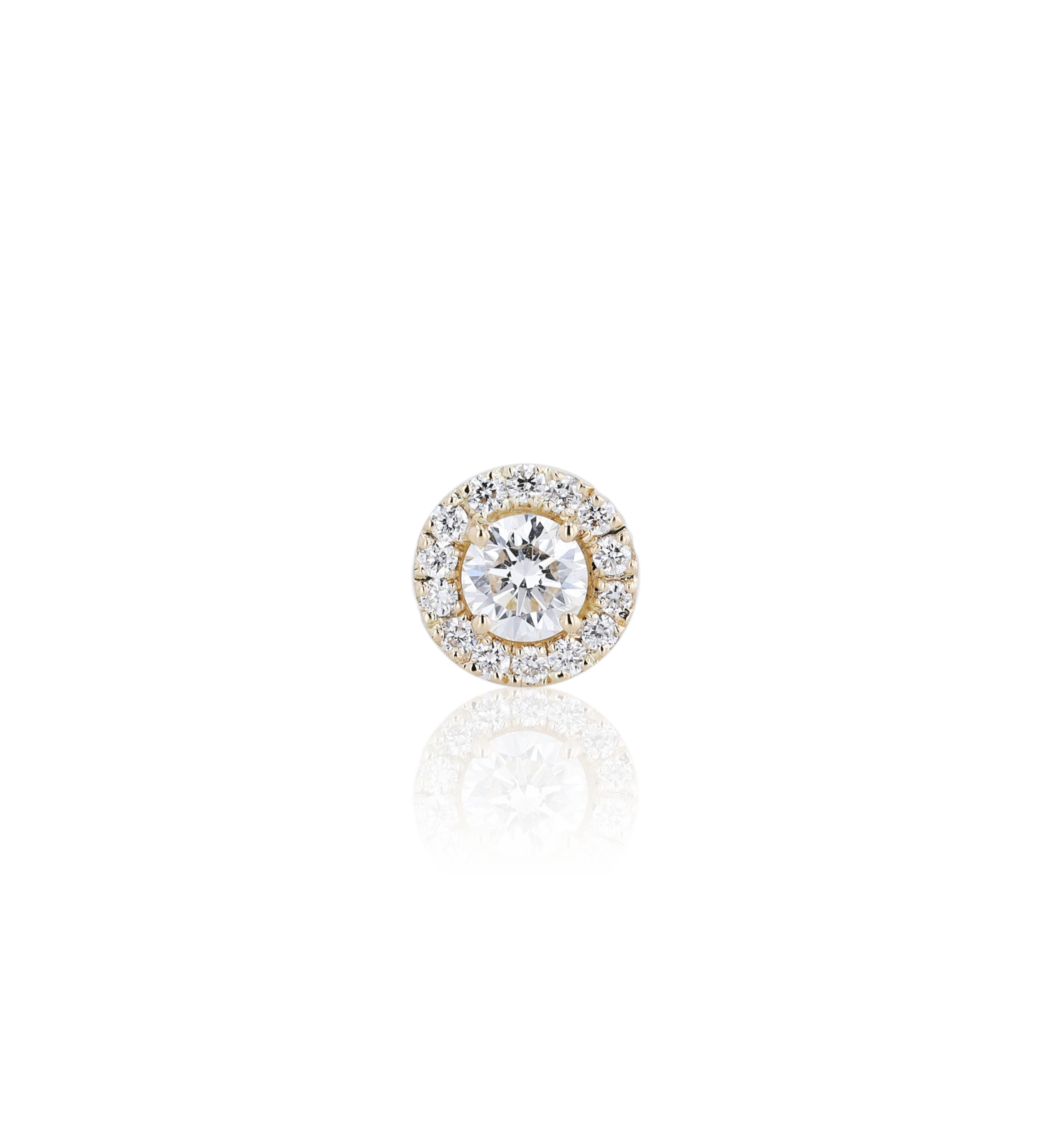 Halo Round Diamond Stud Earrings in 18K Yellow Gold 0.63 CT