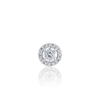Halo Round Diamond Stud Earrings in 18K White Gold 1.03 CT