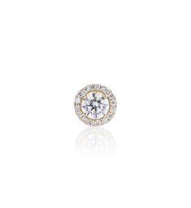 Halo Round Diamond Stud Earrings in 18K Yellow Gold 0.99 CT