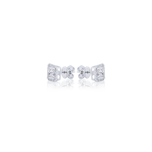 Halo Princess cut Diamond Stud Earrings in 18K White Gold 2.16 CT ( part of three-piece set)