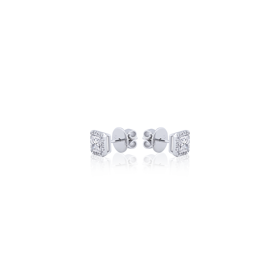 Halo Princess cut Diamond Stud Earrings in 18K White Gold 1.26 CT ( part of three-piece set)