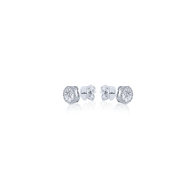 Halo Round cut Diamond Stud Earrings in 18K White Gold 1.22 CT ( part of three-piece set)