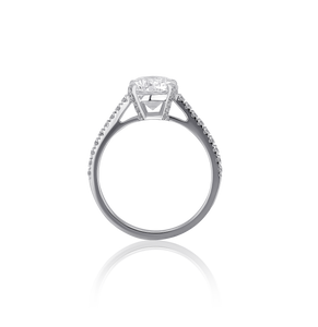 Certified Round Diamond Ring with Pavé 2.01 CT FSI1 18K White gold
