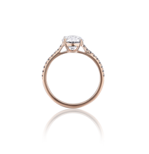 Certified Round Diamond Ring with Pavé 1.50 CT GSI1 18K Pink gold