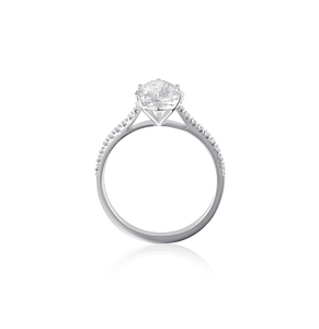 Certified Pear Shaped Diamond Ring with Pavé 2.05 CT FSI2 18K White gold