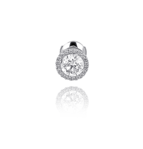Certified Halo Round Diamond Stud Earrings in 18K White Gold 1.60 CT