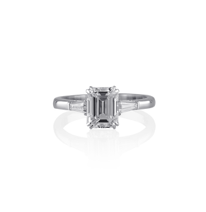 Certified Emerald cut ring with twin tapered baguettes