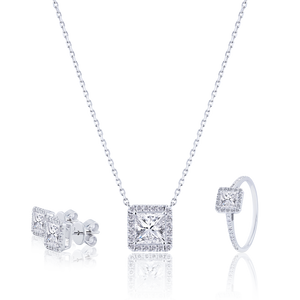 Halo Princess cut Diamond Pendant in 18K White Gold 1.09 CT ( part of three-piece set)