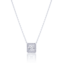 Halo Princess cut Diamond Pendant in 18K White Gold 1.17 CT ( part of three-piece set)