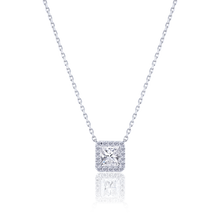 Halo Princess cut Diamond Pendant in 18K White Gold 0.72 CT ( part of three-piece set)