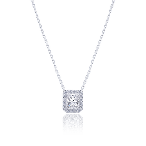 Halo Radiant cut Diamond Pendant in 18K White Gold 0.97 CT ( part of three-piece set)