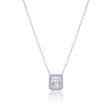 Halo Radiant cut Diamond Pendant in 18K White Gold 0.74 CT ( part of three-piece set)
