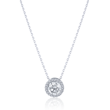 Halo Round cut Diamond Pendant in 18K White Gold 0.51 CT ( part of three-piece set)