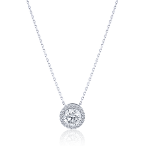 Halo Round cut Diamond Pendant in 18K White Gold 0.89 CT ( part of three-piece set)