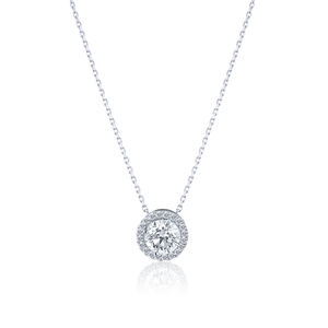 Halo Round cut Diamond Pendant in 18K White Gold 0.47 CT ( part of three-piece set)