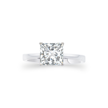 Certified Princess shaped solitaire ring 1.55 CT 18K White gold