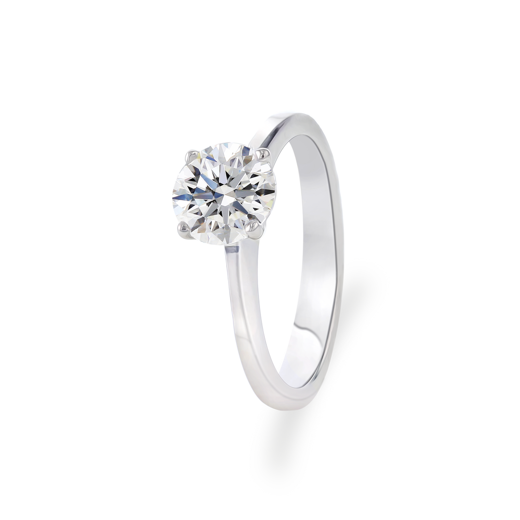 Certified Round shaped solitaire ring 1.00 CT 18K White gold