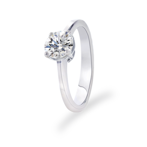 Certified Round shaped solitaire ring 1.06 CT 18K White gold