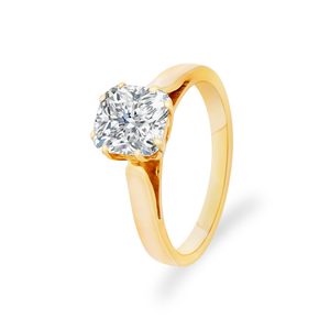 Certified Cushion shaped solitaire ring 2.02 CT 18K Yellow gold