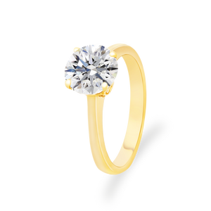 Certified Round shaped solitaire ring 2.00 CT 18K Yellow gold