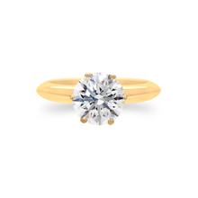 Certified Round shaped solitaire ring 3.02 CT 18K Yellow gold