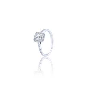 Radiant cut  Diamond Ring with Pavé 1.02 CT FSI2 18K white gold (part of three-piece set)