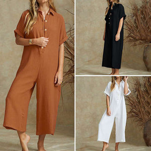 Vintage Wide Leg Short sleeves Jumpsuits